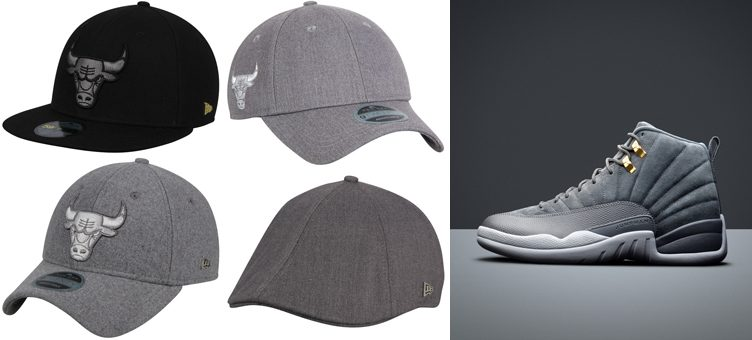 "Air Jordan 12 ""Dark Grey"" x New Era Chicago Bulls Black Label Series Hats"