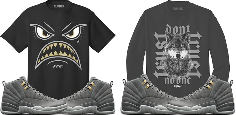 "Original RUFNEK Sneaker Shirts to Match the Air Jordan 12 ""Dark Grey"""