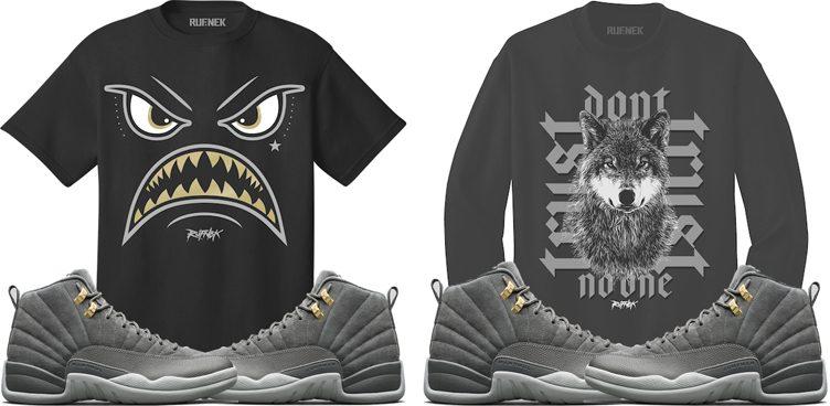"2f807e7b044194 Original RUFNEK Sneaker Shirts to Match the Air Jordan 12 ""Dark Grey"""