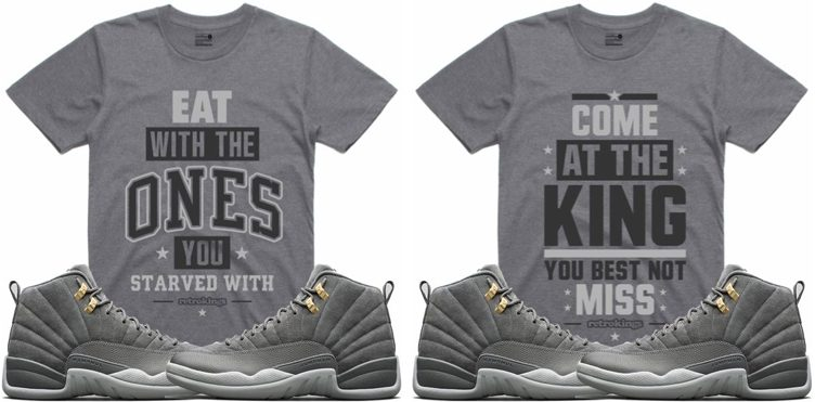 "Retro Kings Sneaker Tees to Match the Air Jordan 12 ""Dark Grey"""