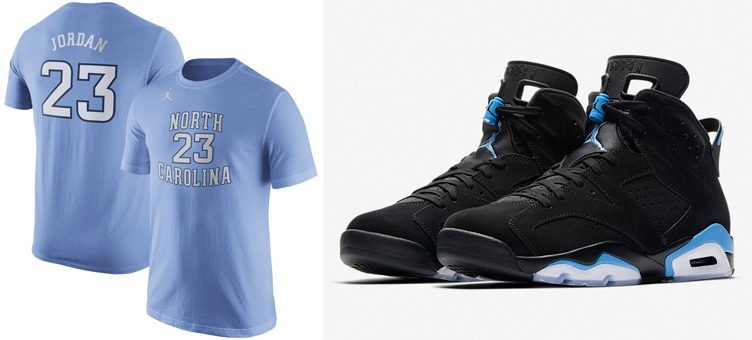 "Air Jordan 6 ""UNC"" x Michael Jordan North Carolina Tar Heels Replica T-Shirt"
