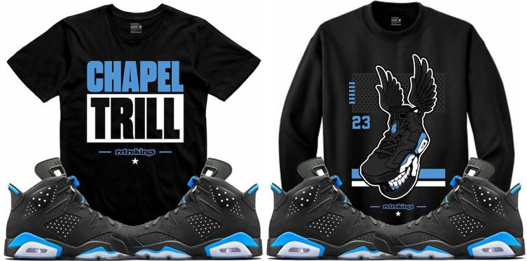 91b9fbf4d1a0 Jordan 6 UNC Carolina Sneaker Match Shirts