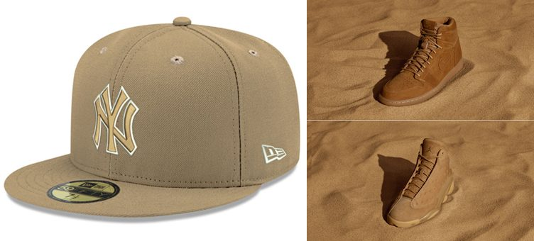 "New Era MLB Pantone Tan 59FIFTY Caps x Jordan Wheat ""Golden Harvest"" Pack"