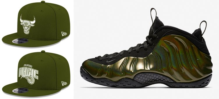 "Nike Air Foamposite One ""Legion Green"" x New Era NBA Fall Dubs Snapback Caps"