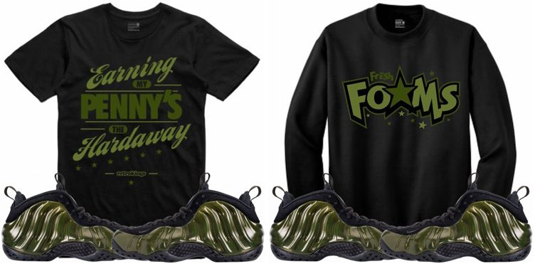 "c2d2c27214ea14 Retro Kings Sneaker Shirts to Match the Nike Air Foamposite One ""Legion  Green"""