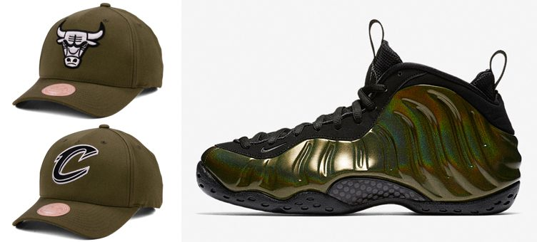 "7d72a24a2dd Nike Air Foamposite One ""Legion Green"" x Mitchell   Ness NBA X Flexfit  Snapbacks"