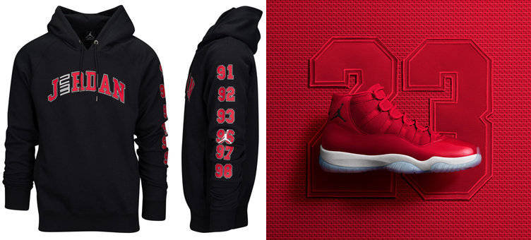 buy online 8c1ce 51566 Air Jordan 11 96 Gym Red Matching Hoodie | SneakerFits.com