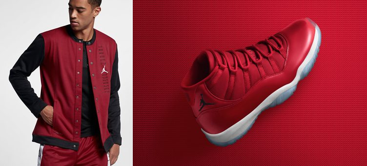 "Air Jordan 11 ""Win Like '96"" x Air Jordan 11 Basketball Jacket (Gym Red/White/Black)"