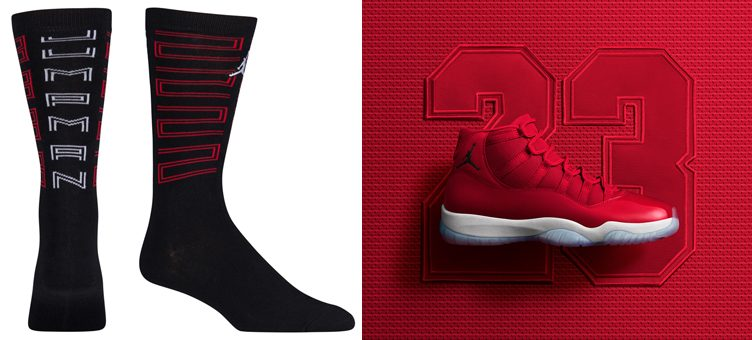 "Air Jordan 11 ""Win Like '96"" x Jordan Retro 11 Crew Socks (Black/Gym Red/White)"