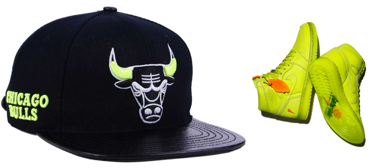 jordan-1-gatorade-cyber-lemon-lime-bulls-matching-hat