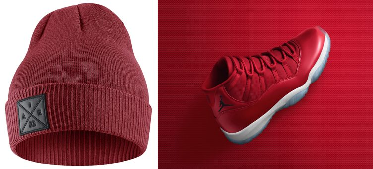 "Jordan Gym Red Beanies to Match the Air Jordan 11 ""Win Like '96"""