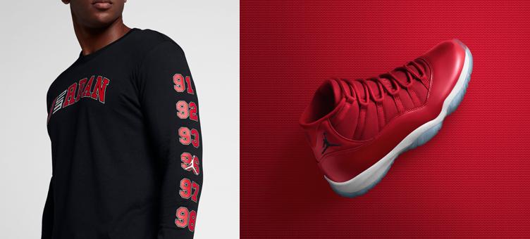 jordan-11-gym-red-win-96-matching-shirt