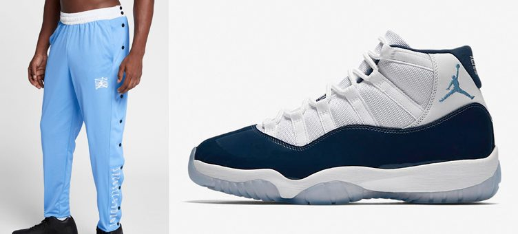 "b3d32598940 Air Jordan 11 ""Win Like '82"" x Jordan Retro 11 Snap Pants (University  Blue/White). After first emerging in Midnight Navy to match ..."