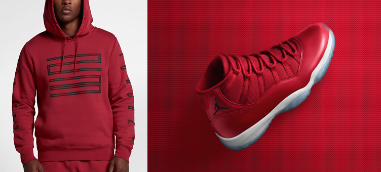 36399828e7d Jordan 11 Win Like 96 Gym Red Hoodie | SneakerFits.com