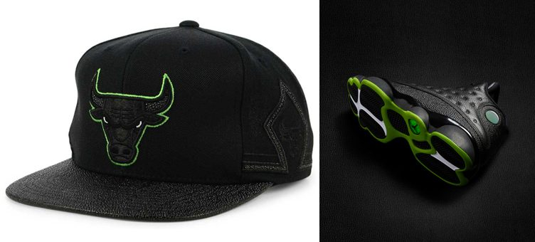 jordan-13-altitude-green-black-bulls-hat-match