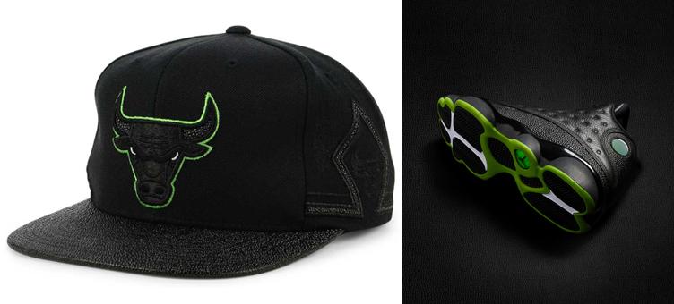 jordan-13-altitude-green-black-bulls-hat-match