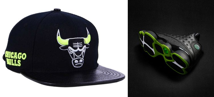 "Air Jordan 13 ""Altitude Green"" x Chicago Bulls Pro Standard Sneaker Hook Cap"