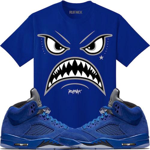 jordan-5-blue-suede-sneaker-tee-shirt-1
