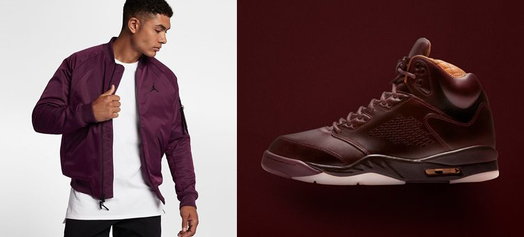 "Air Jordan 5 Premium ""Bordeaux"" x Jordan Bordeaux Wings MA-1 Jacket"