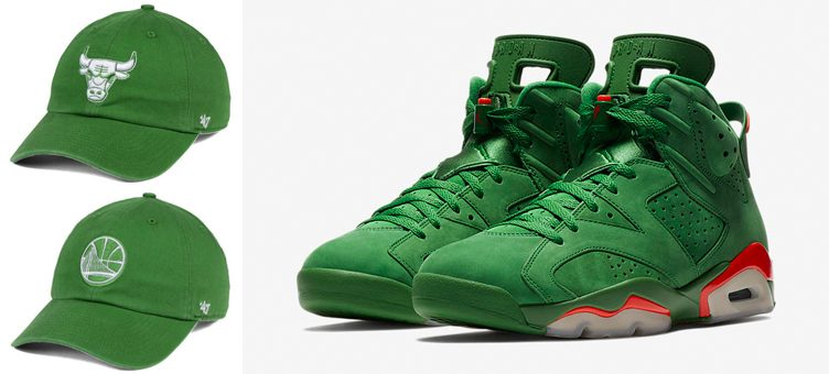 "Air Jordan 6 ""Gatorade Green"" x '47 NBA Green CLEAN UP Strapback Caps"