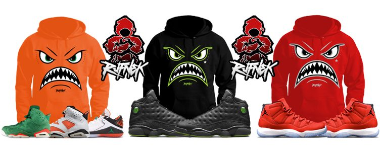 Original RUFNEK War Face Sneaker Hoodies & Tees to Match Jordan Retros
