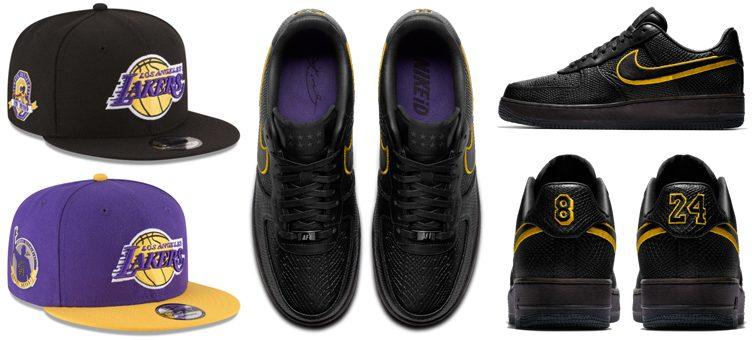"71af250b937c Kobe Bryant Retirement New Era Patch Caps x Nike Air Force 1 Low ""Black  Mamba"""