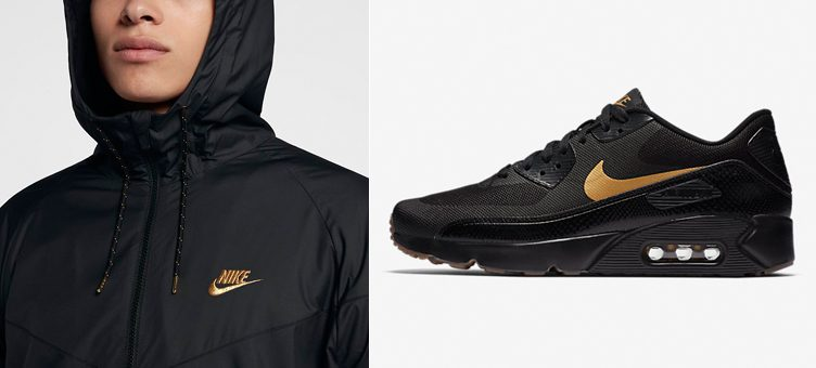 Nike Sportswear Black & Metallic Gold Sneaker Match: Nike Air Max 90 Ultra 2.0 x Nike Winterized Windrunner Jacket