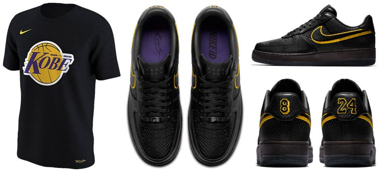 "cheap for discount 680ec 1af5f Nike Kobe Bryant Retirement T-Shirts x Nike Air Force 1 Low iD ""Black Mamba"""