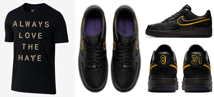 "Nike Kobe Mamba Day T-Shirt x Nike Air Force 1 Low iD ""Black Mamba"""