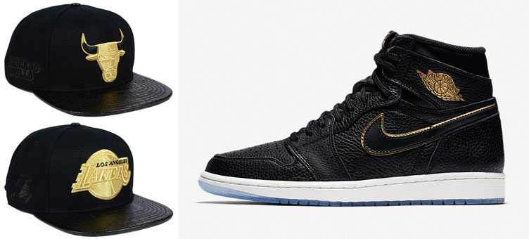 "Air Jordan 1 Retro High ""City of Flight"" x Pro Standard NBA Gold Strapback Caps"