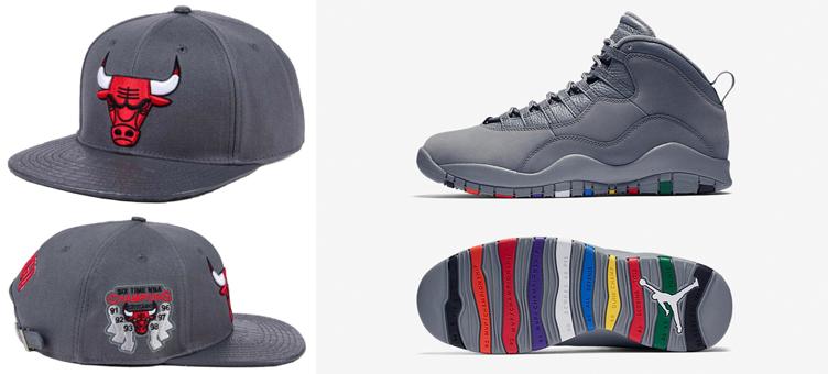 Jordan 10 Cool Grey Matching Bulls Hat  06747624e9e