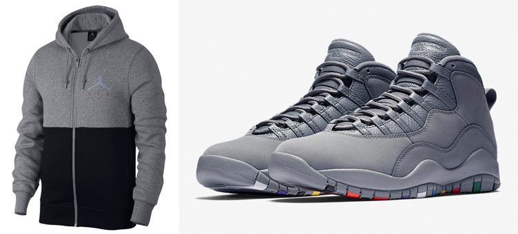 "Air Jordan 10 ""Cool Grey"" x Jordan Jumpman Air Graphic Full-Zip Hoodie"