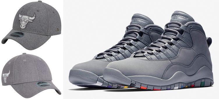 "Air Jordan 10 ""Cool Grey"" x Chicago Bulls New Era Black Label Strapback Caps"
