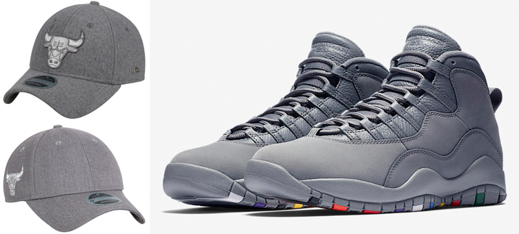 4dad2241720195 Jordan 10 Cool Grey Bulls New Era Hats