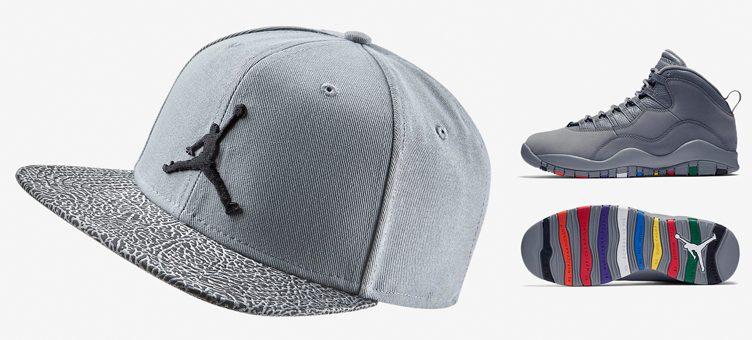 """Air Jordan 10 """"Cool Grey"""" x Jordan Cool Grey Elephant Print Snapback Cap"""