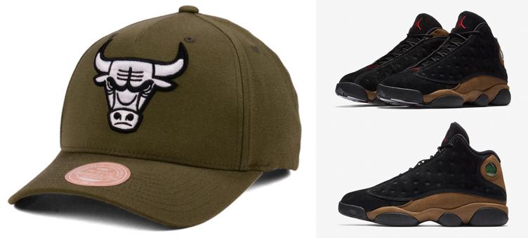 2f6cecb68a7 jordan-13-olive-bulls-snapback-hat