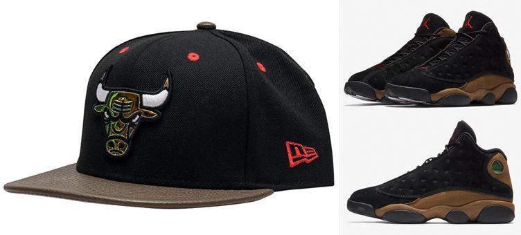 jordan-13-olive-bulls-sneaker-hook-hat