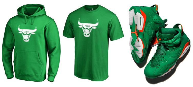 6bfa6855b55b2f Jordan 6 Green Gatorade Bulls Shirts to Match