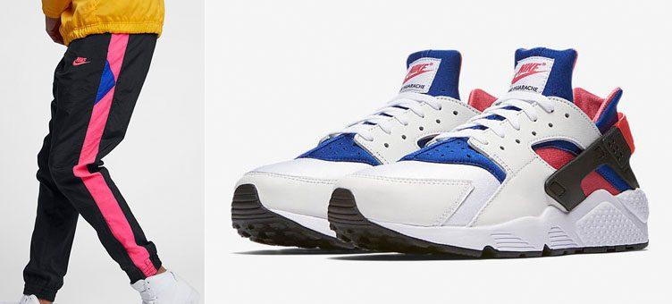 "Nike Air Huarache '91 QS ""Pink/Royal"" x Nike Sportswear Woven Joggers"