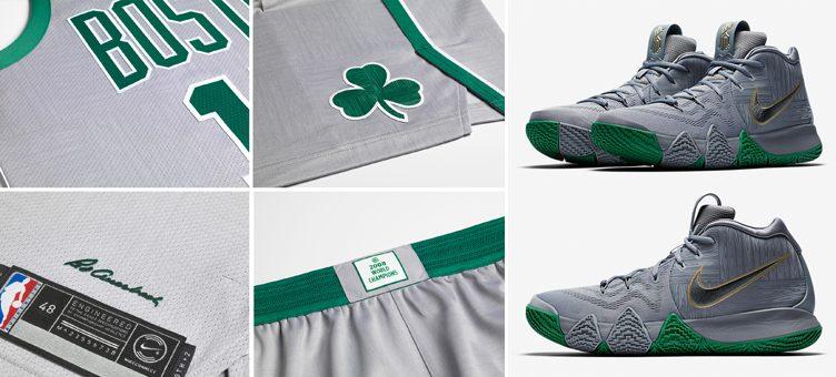 "d752a30f317 Nike Kyrie 4 ""Parquet"" x Nike NBA Boston Celtics City Edition Gear"