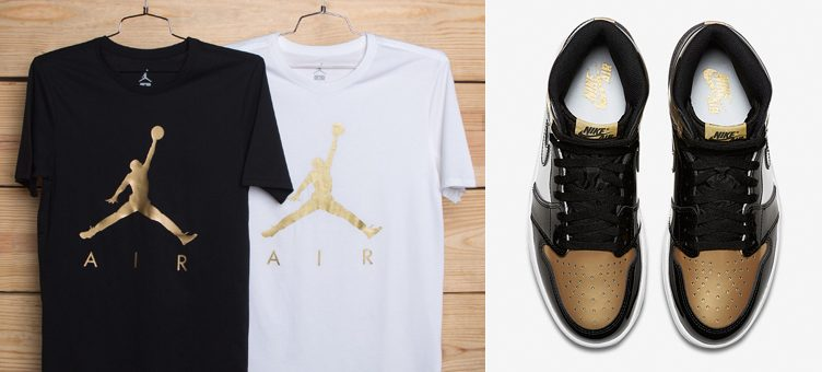 "7833e62bcd06 Air Jordan 1 Retro High OG ""Gold Toe"" x Jordan Metallic Jumpman Air T-Shirts"