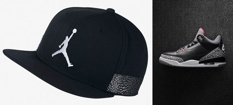 "Air Jordan 3 ""Black Cement"" x Jordan Retro 3 Jumpman Pro Snapback Cap"