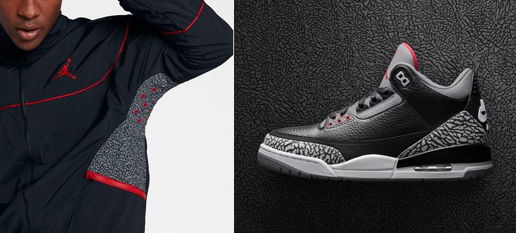"Air Jordan 3 ""Black Cement"" x Jordan AJ 3 Vault Jacket"