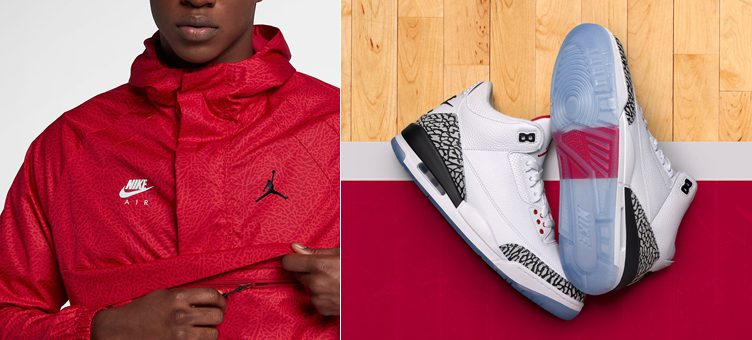 "Air Jordan 3 ""Free Throw Line"" x Jordan Wings 1988 Anorak Jacket (Gym Red)"