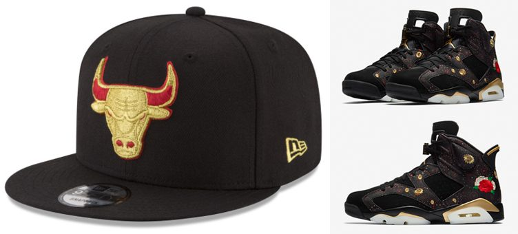 "Air Jordan 6 ""Chinese New Year"" x Chicago Bulls New Era Gold on Team Snapback"