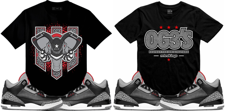 369ca7bb8433 Jordan 3 Black Cement Sneaker Tees Shirts