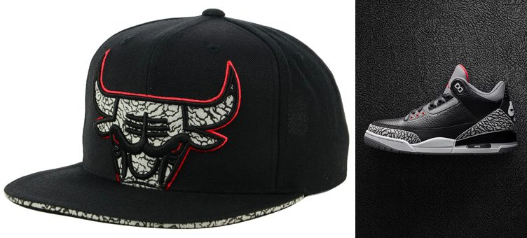 "Air Jordan 3 ""Black Cement"" x Chicago Bulls Mitchell & Ness Black Cement Sneaker Hook Snapback Cap"