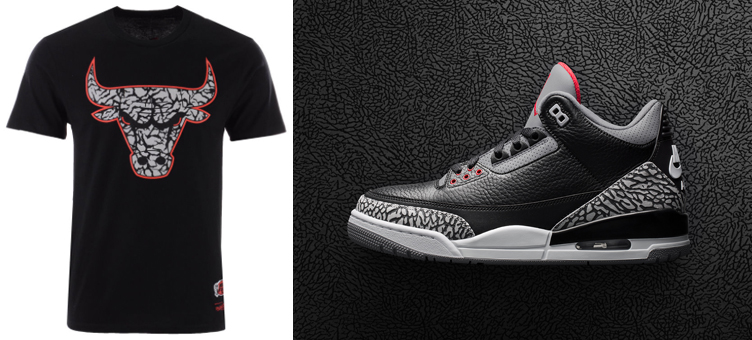 cd983b9b2c35a5 Jordan 3 Black Cement Bulls OG 3 T Shirt