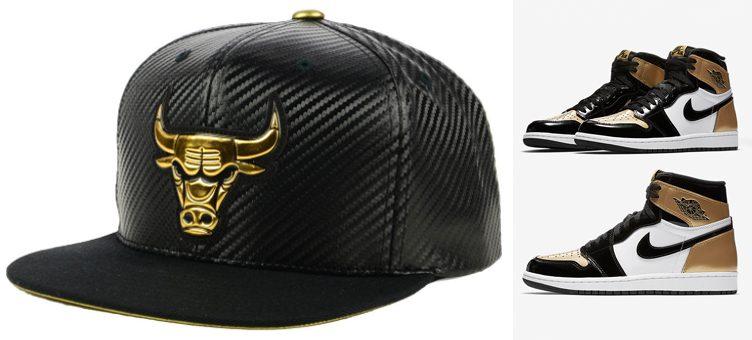 jordan-1-gold-toe-bulls-snapback-cap