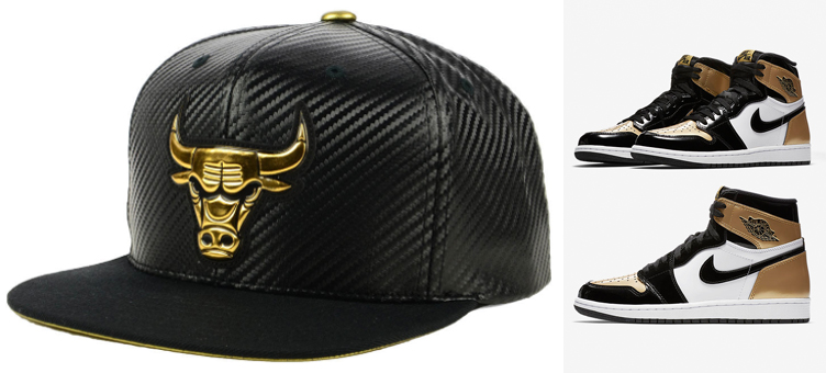 683033c6d2c jordan-1-gold-toe-bulls-snapback-cap. New from Mitchell   Ness is this black  and metallic gold Chicago ...